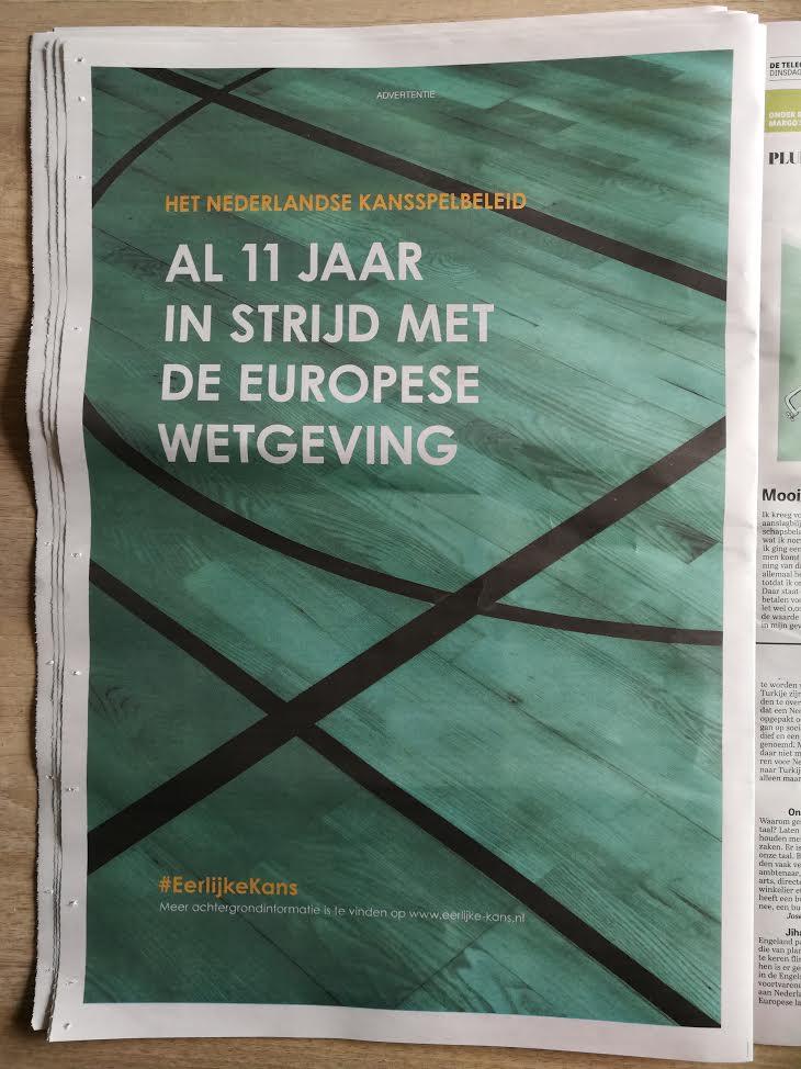 Betsson plaatst pagina grote advertentie in de Telegraaf