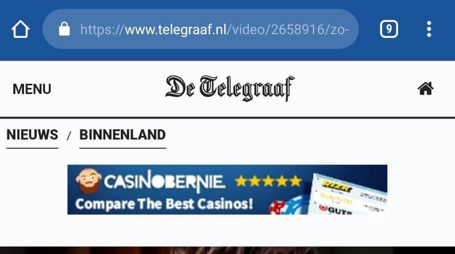Telegraaf maakt zelf ook reclame voor illegaal online gokken